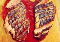 Seared duck breast with an orange and balsamic reduction