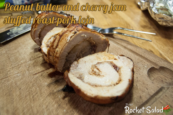 Peanut butter and cherry jam stuffed roast pork loin recipe