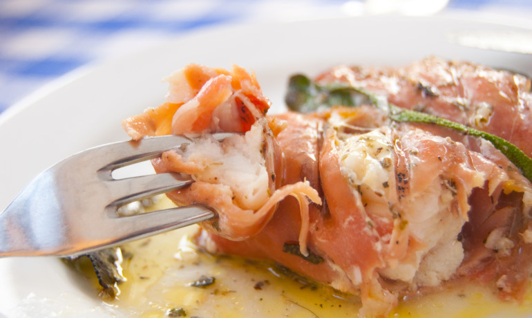 Bayonne ham wrapped monkfish kebabs with sage recipe how for Monkfish and parma ham recipe